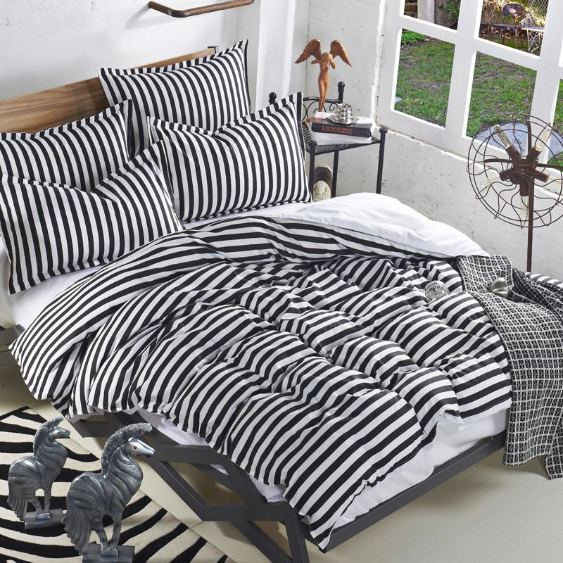 Simple Classic Stripe Bedding Set With Sheets Soft Modern Duvet Cover Set Black And White Quilt Cover Set Clearance S Bedding Sets Bed Linen Sets White Bed Set