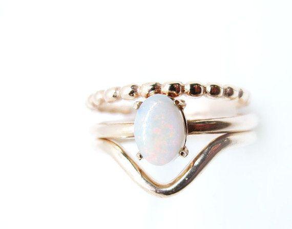 Milky Australian Opal Rose Gold ring set 14K wedding ring set Opal