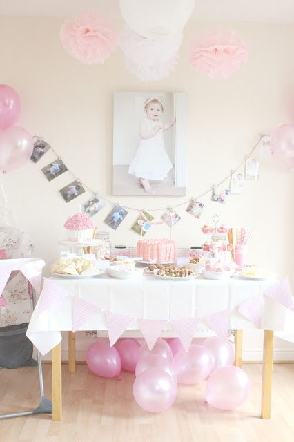 Perfect Birthday Party Ideas · Gorgeous Pink White Babyu0027s Second Birthday Photo  Garland Simple