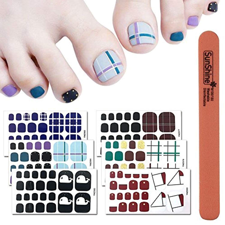 WOKOTO 6 Sheets Self-Adhesive Toe Nail Decals Stickers Self Adhesive