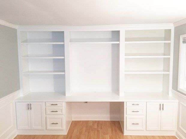 """Built-in desk step by step process - you will not believe what this space looked like """"before""""!"""