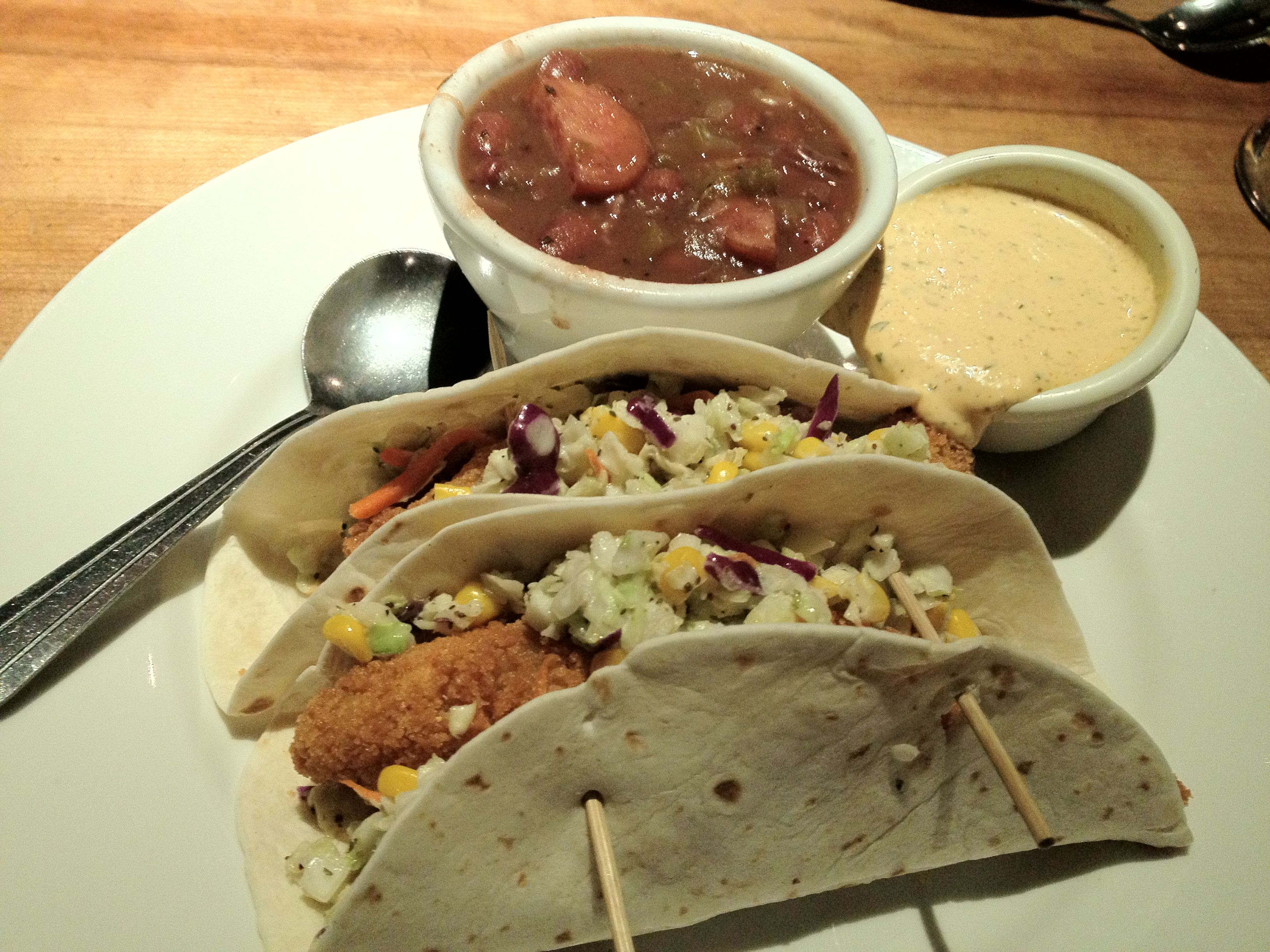 Fish tacos with cajun tarter sauce from cheddar 39 s food for Sauces for fish tacos