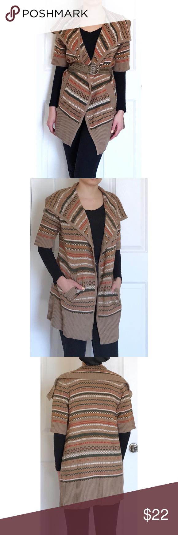 Cynthia Rowley Brown Printed Short Sleeve Cardigan | Shawl ...