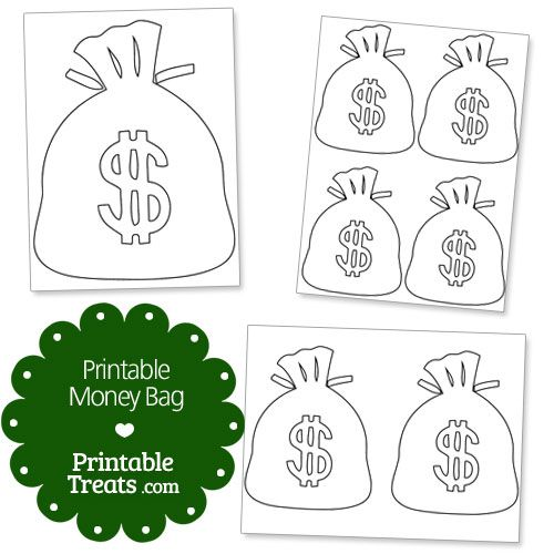 Printable Money Bag from PrintableTreats Shapes and - free money templates