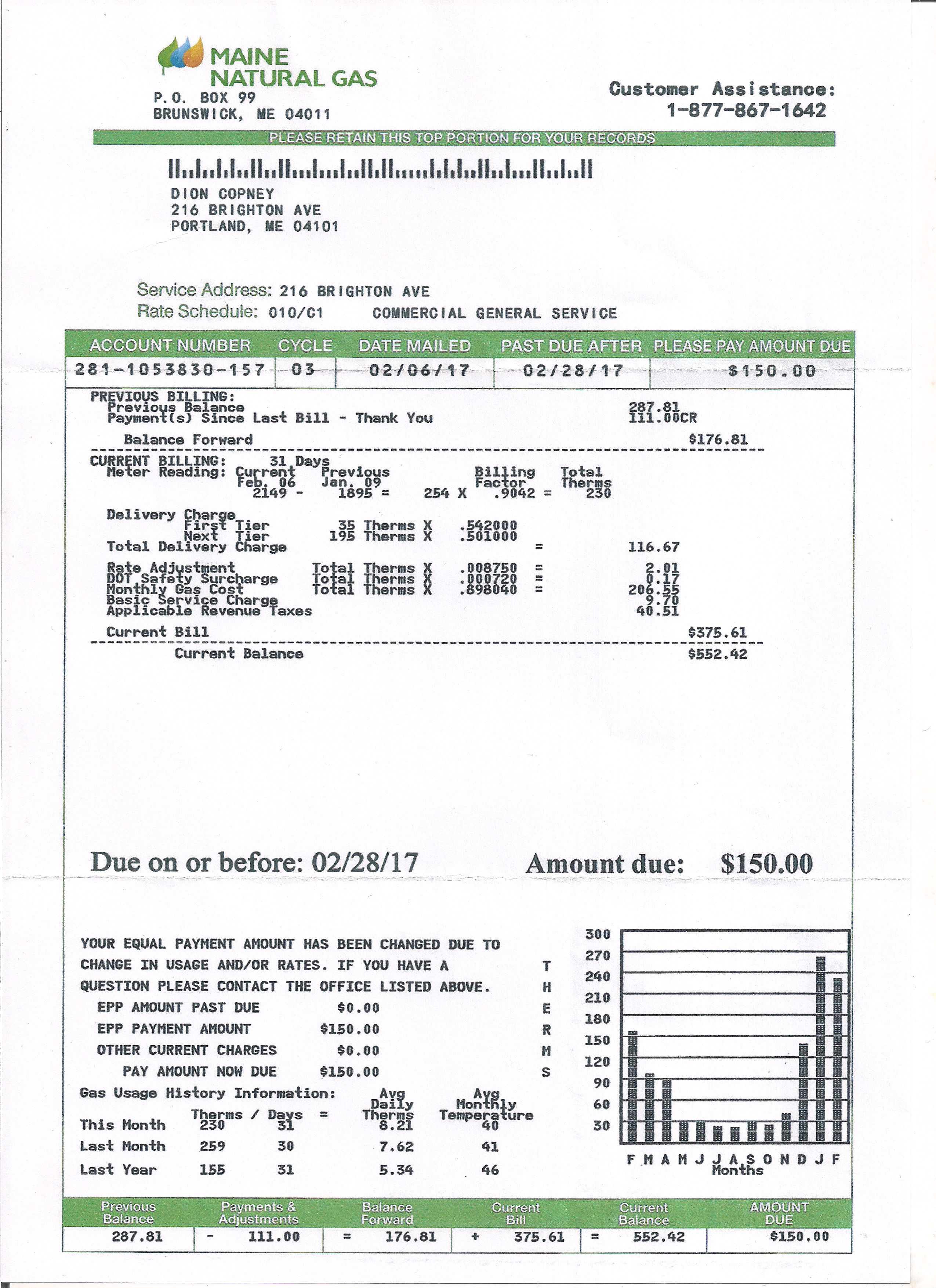 Utility Bill Statement Monthly Custom Proof Of Address