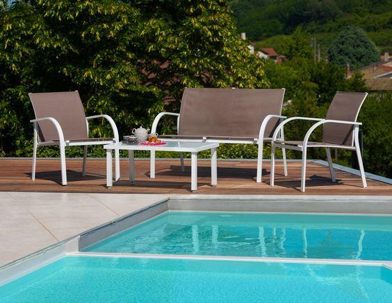 Lounge-Gruppe BOSTON Farbe Weiß und Taupe #LoungeGartenmöbel