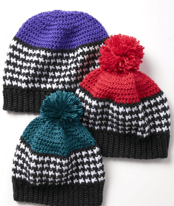 Crochet Houndstooth Hats for the Family + Tutorial   Háčkování ...