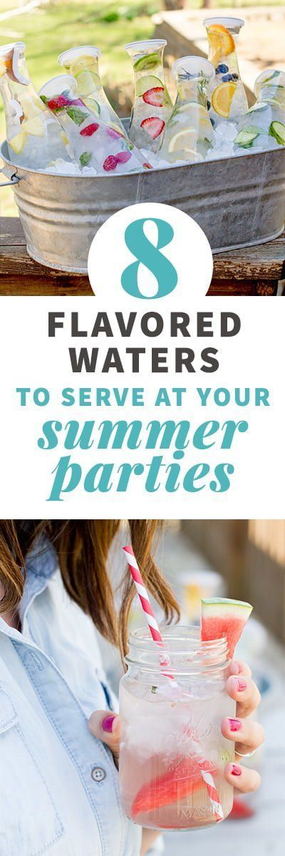 Make hydration fun with these recipes for infused water! These are great to serve at summer parties, too. 8 flavors means you're sure to find one you love. #infusedwater #partydrinks #college party #Combos #Hydrated #Infused #Party #party decorations #party deko #party drinks #party getränke #party ideas #party ideen #party recipes #partyrezepte #partyrezepte schnelle #partysnack #summer party #summer party drinks #Water