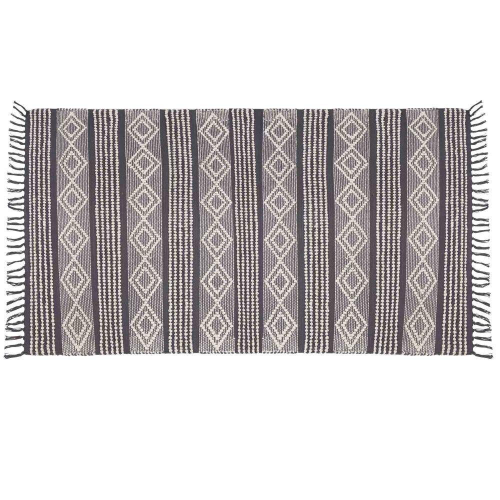 Tappeto in cotone grigio scuro e bianco, 90x150 cm Rugs