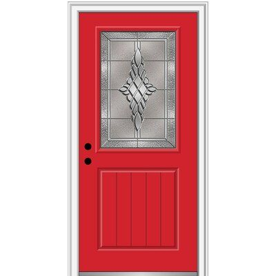 Verona Home Design Fibreglass Smooth 1 2 Lite 1 Panel Planked Single Entry Door Finish Red Saffron Brilliant White Door Size 80 H X 32 W X 1 75 Wood Exterior Door Sliding Screen Doors