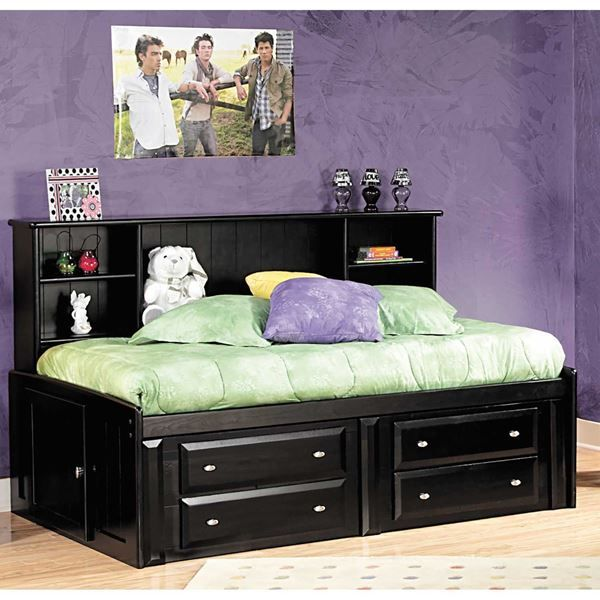 Black Laguna Twin Roomsaver Bed With Underbed Storage Bed With