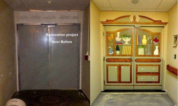 Memory care door dementia wallpaper mural google search for Nursing home door decorations