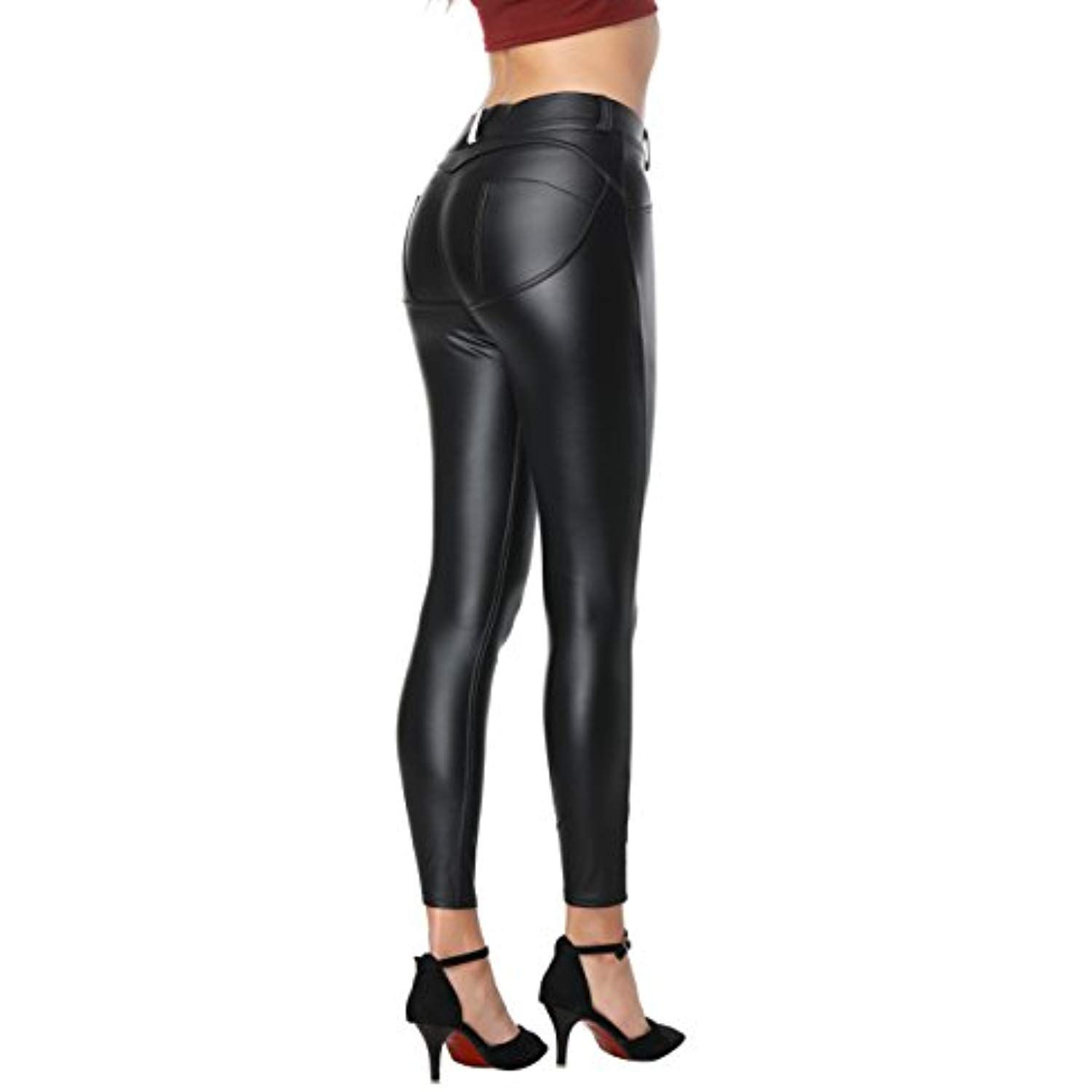 6846bd89d5cad3 Women Faux Leather Pants PU Sexy Elastic Pants Butt Lift Super Slim Leggings  * Check out this great product. (This is an affiliate link)