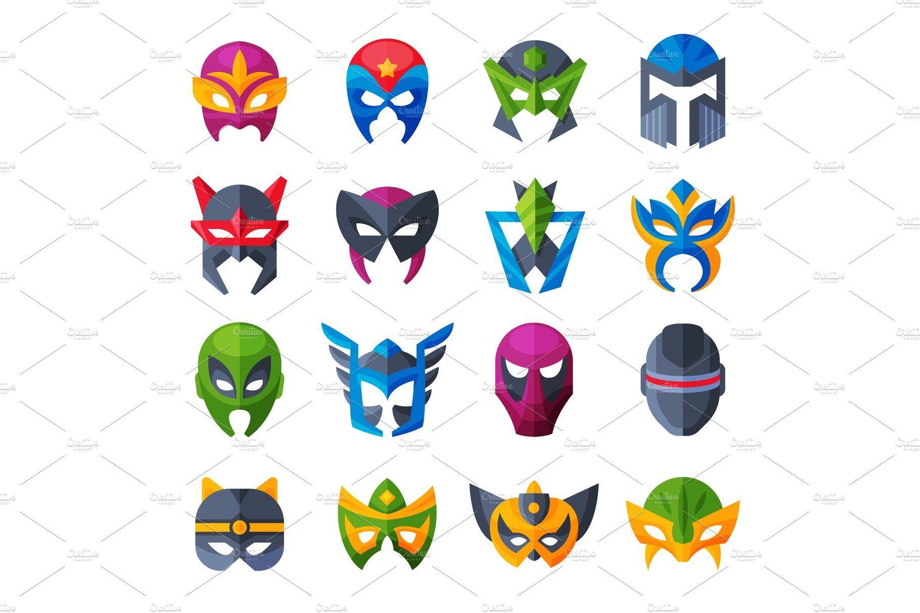 Mask Character Design Superhero Wearing Mask