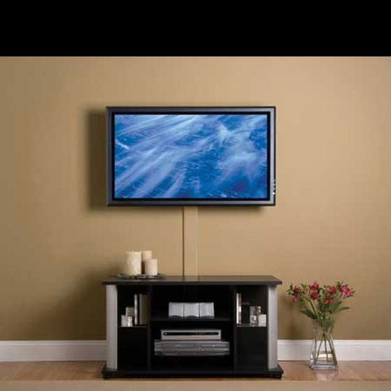 hiding cords without putting any holes in the wall. Black Bedroom Furniture Sets. Home Design Ideas
