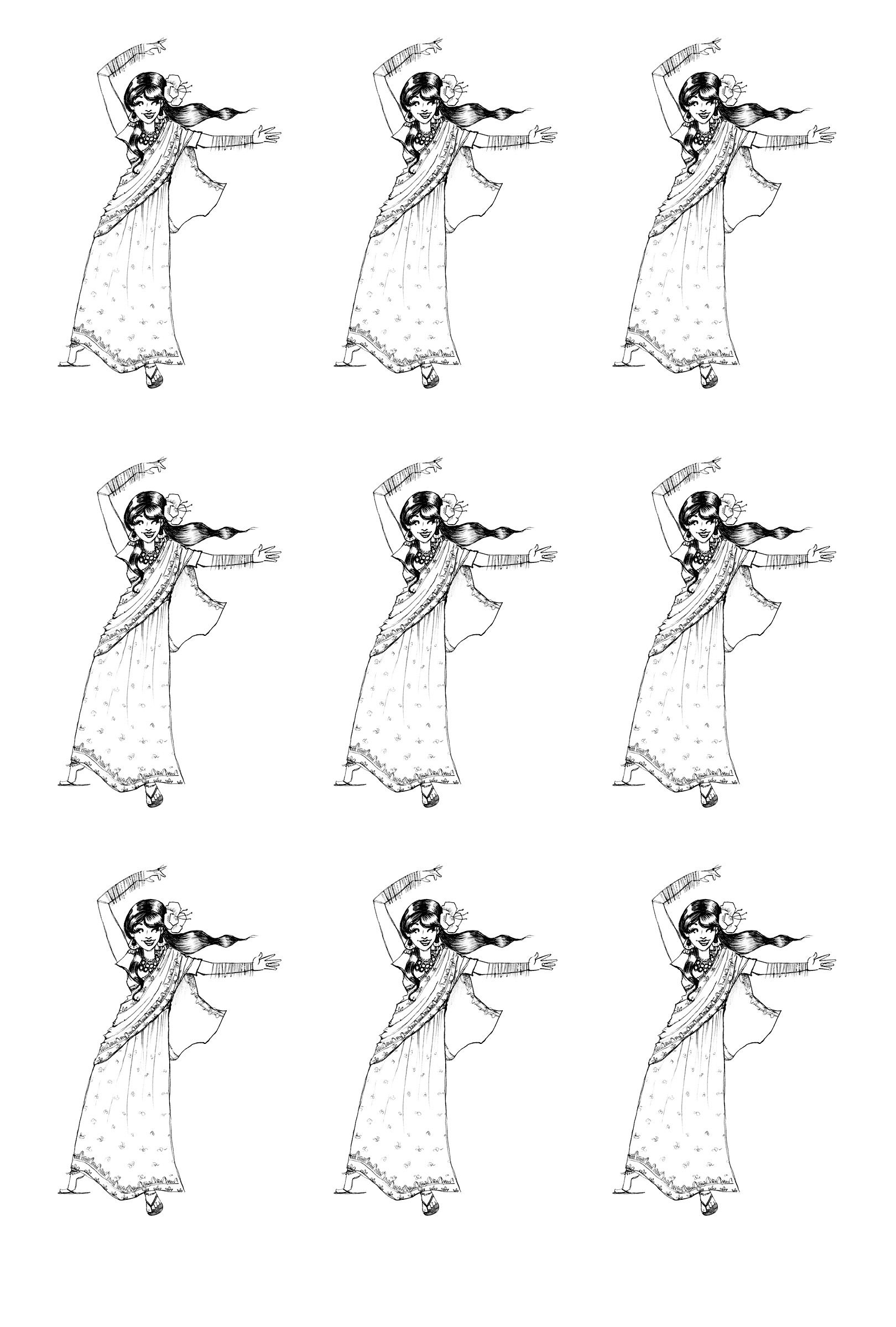 Coloriage A Imprimer Danseuse Indienne.Free Coloring Page Coloriage Inde Bollywood Danse