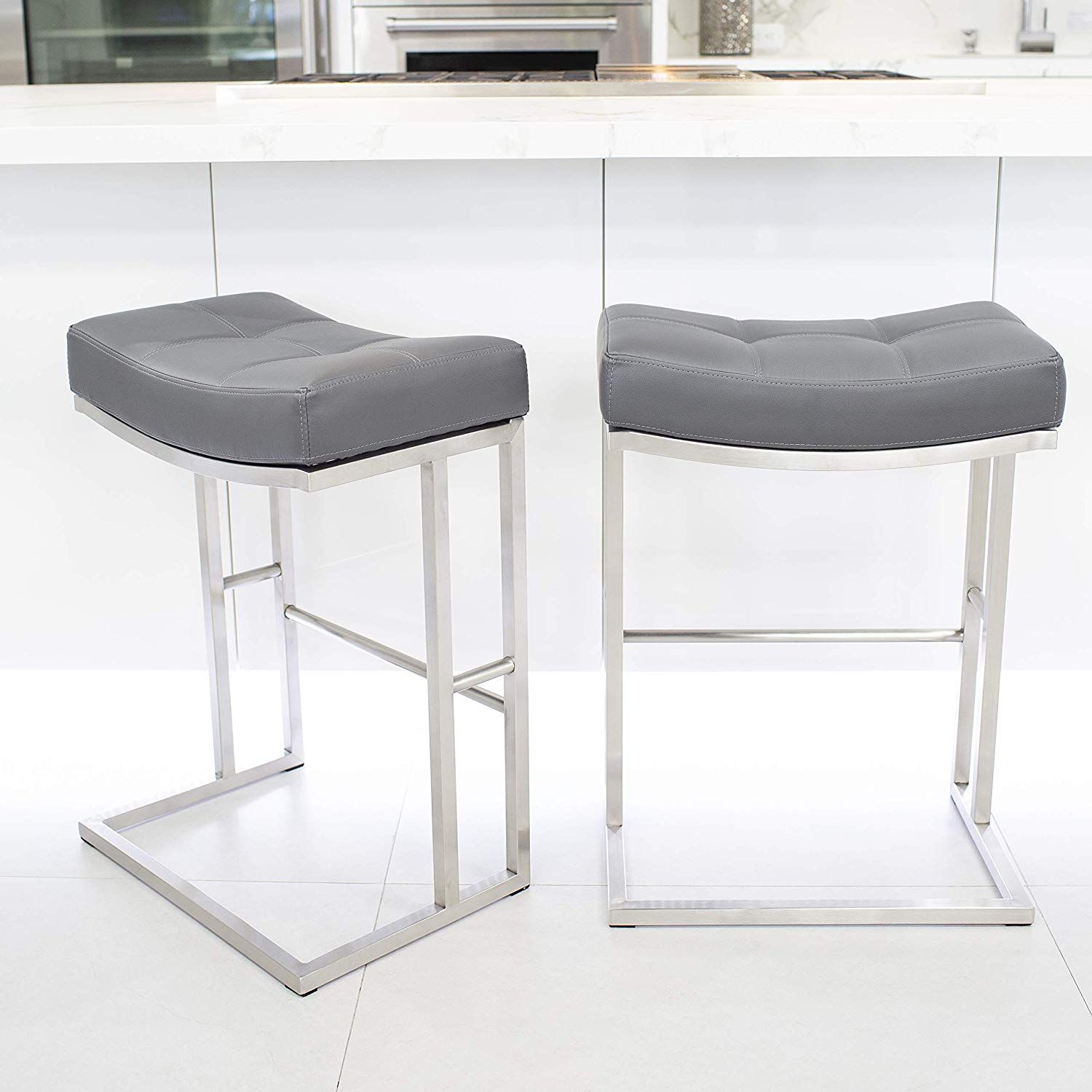 Mix Brushed Stainless Steel Faux Leather Grey 26 Inch Seat Height
