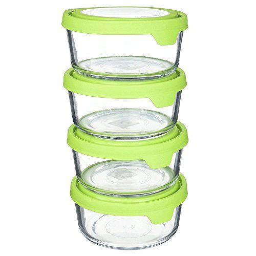 Set Of 4 Anchor Hocking 4cup Round Glass Food Storage Containers With Green Trueseal Airtight Lid Glass Food Storage Containers Glass Canister Set Food Storage