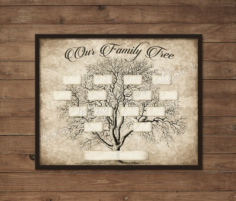 Vintage Family Tree Print Template Instant Download Printable