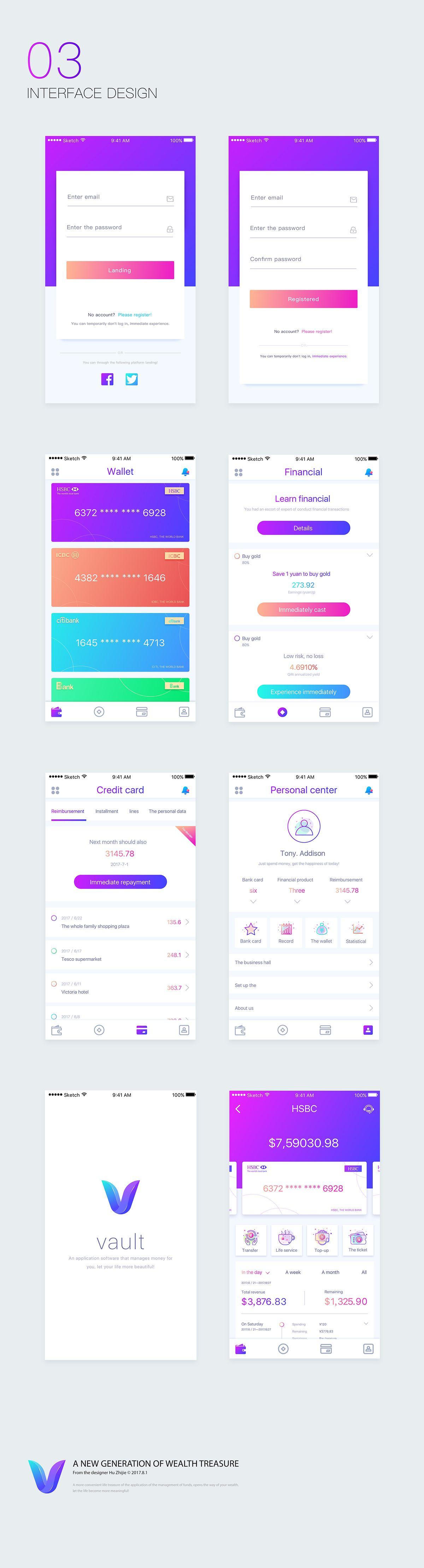 Vault financial app design on Behance App design, Iphone