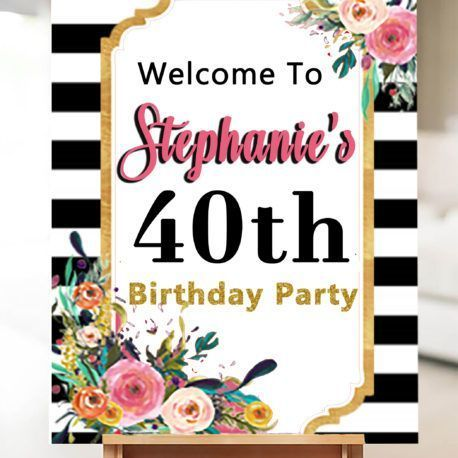 40th Birthday Party Decorations- Forty and Fabulous Sign Welcome Sign #50thbirthdaypartydecorations