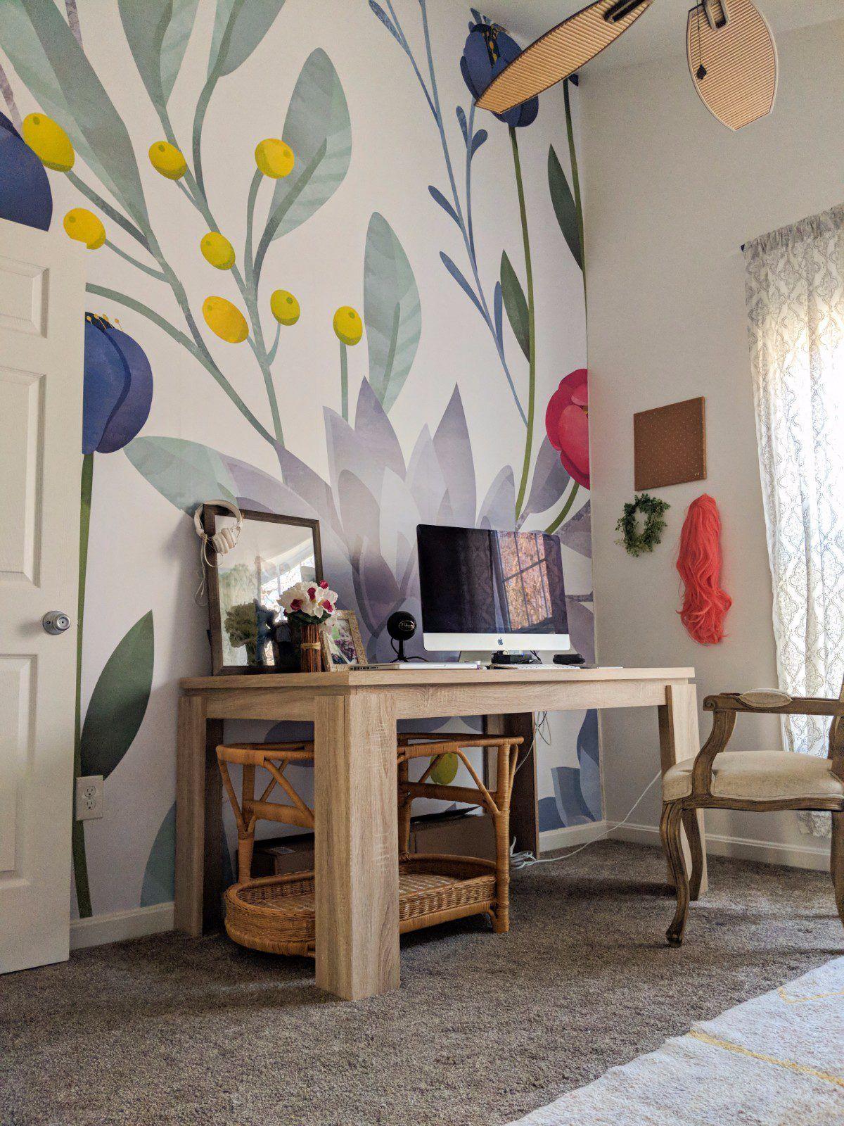 Cute home decor ideas. Flower wallpaper makeover. Making a