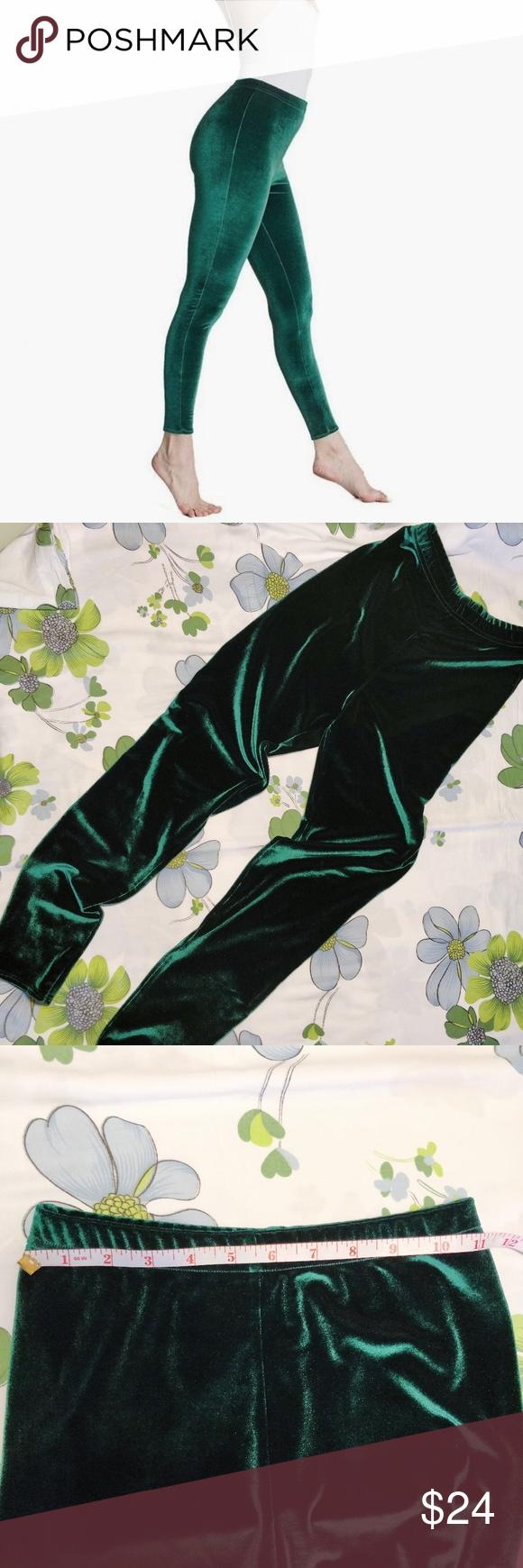 d76ad3cfb5c71 American Apparel green velvet leggings American Apparel dark green/emerald  skinny velvet leggings So soft