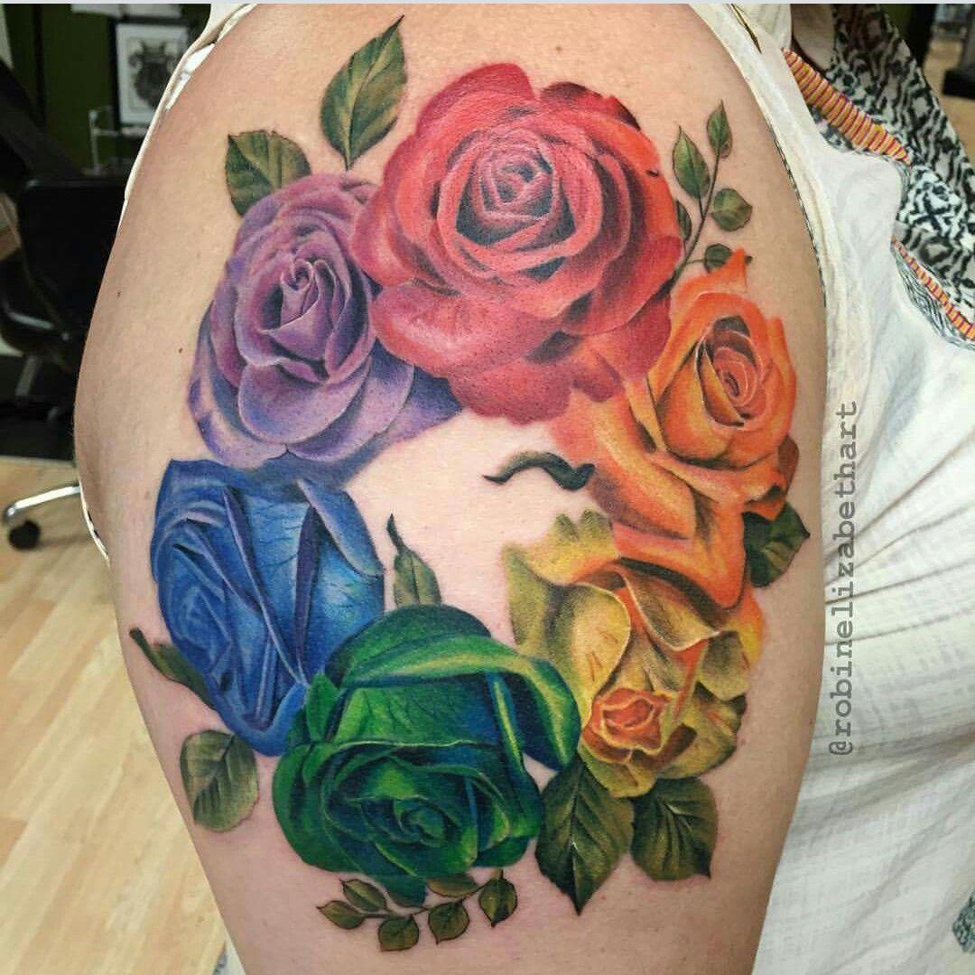 Rainbow rose tattoo Colorful rose tattoos, Coloured rose