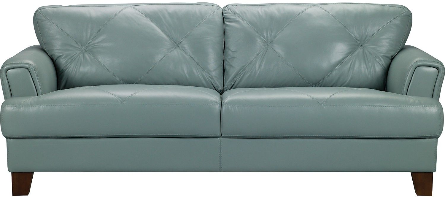 Vita 100% Genuine Leather Sofa   Sea Foam