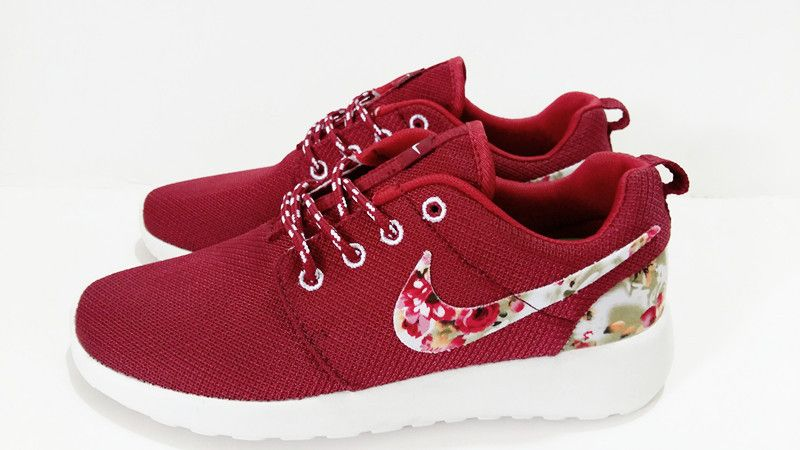 huge selection of bfed7 ecd77  esty Free Womens Nike Roshe Run Gym Red Flower Print White