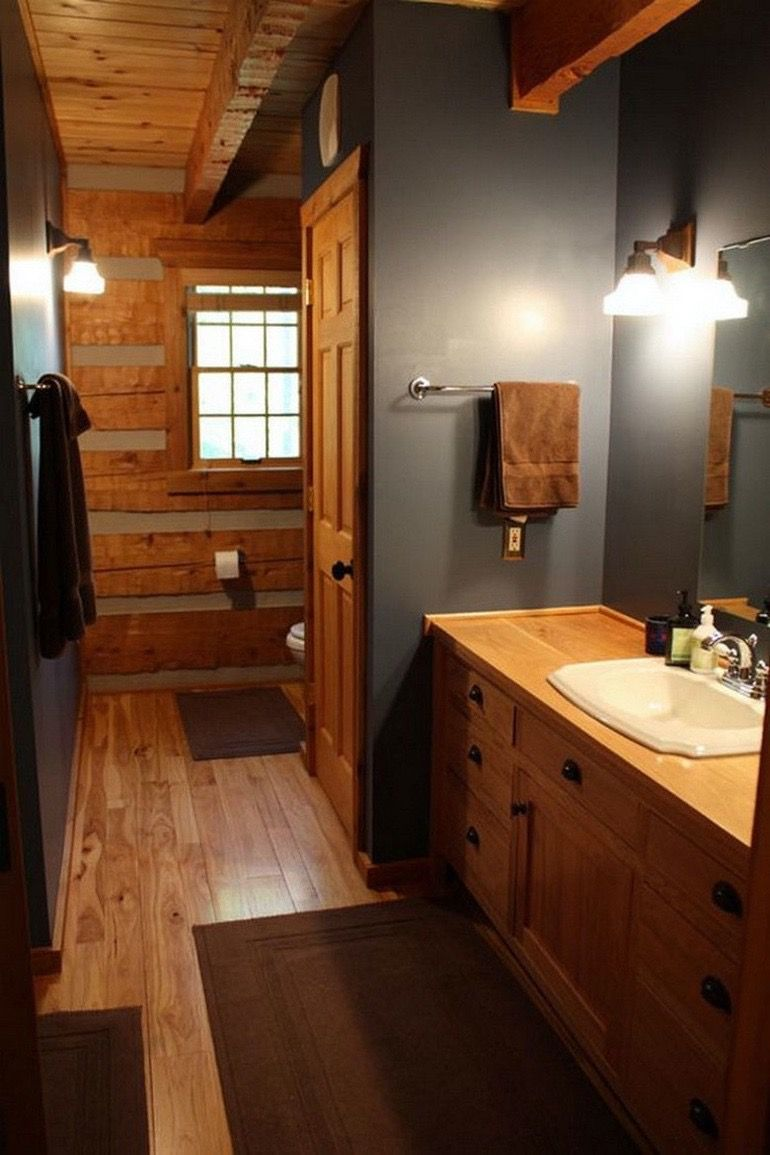 Pin By Angela Hipkiss Lynn On Log Home In 2020 Log Cabin Interior Log Home Bathrooms Bathroom Color Schemes