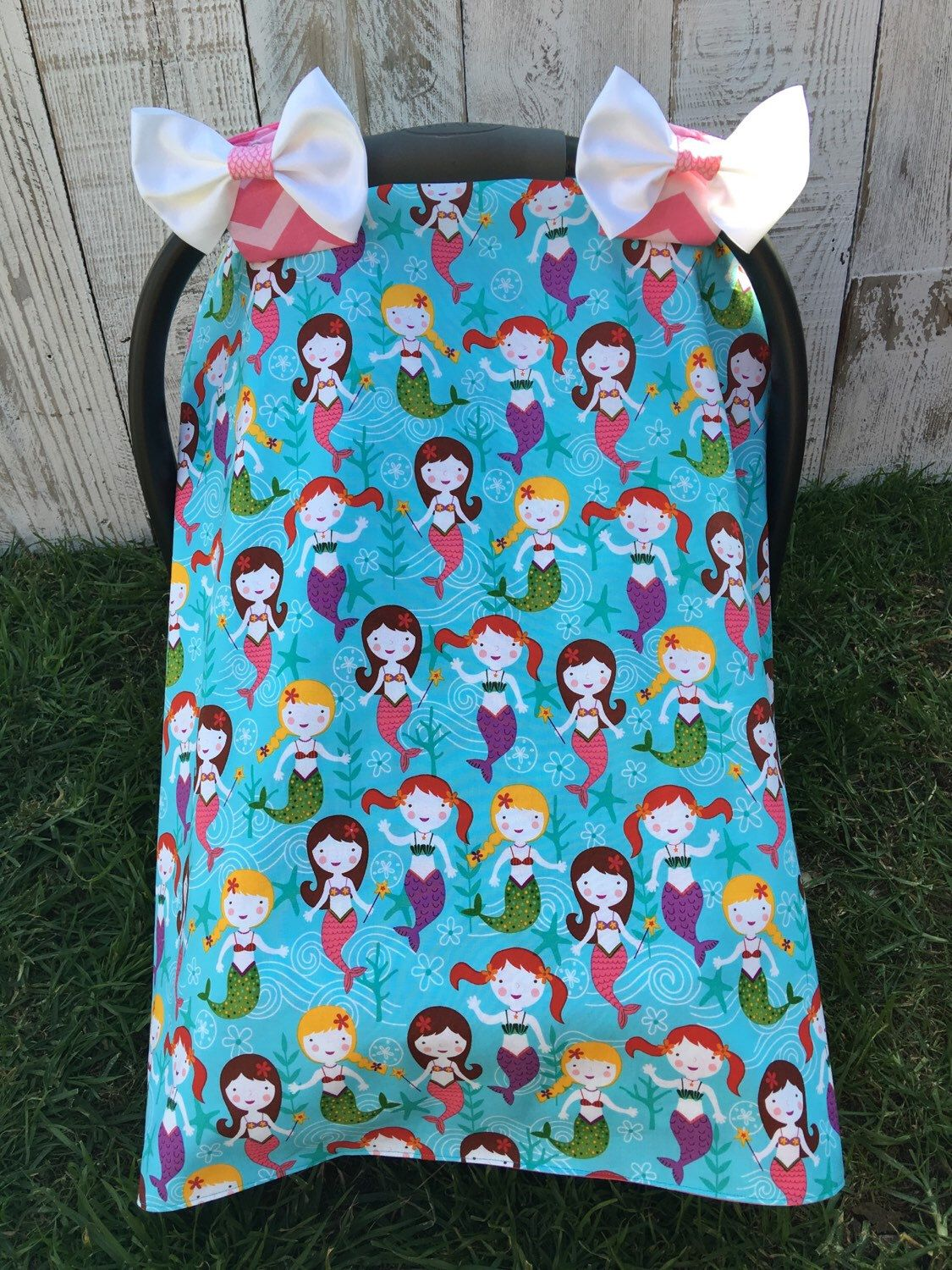 Car Seat Canopy Car Seat Cover Mermaid Infant Carrier Covers Carseat Tent Under the Sea Baby girl Bows The Little Mermaid : little mermaid tent - memphite.com