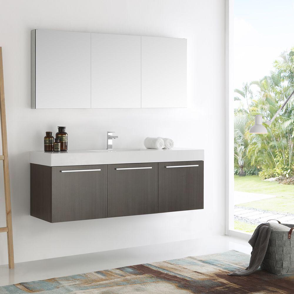 Fresca Vista Grey Oak And Aluminum 60 Inch Single Sink Modern