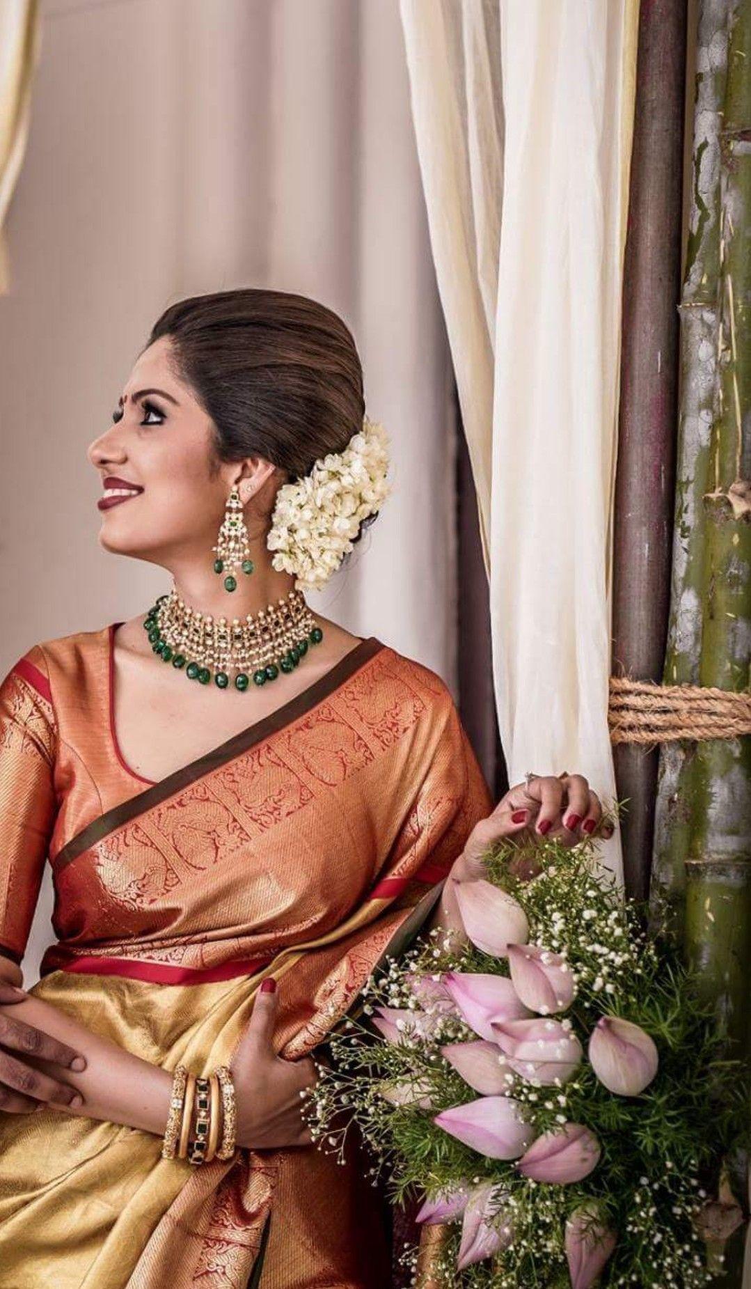Gajra Indian Bridal Saree Wedding Engagement Saree