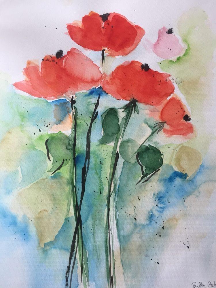 Original Aquarell Aquarellmalerei Mohnblumen Unikat Bild