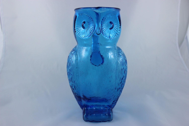 Blue Glass Owl Pitcher Vintage Owl Blue Glass Owl