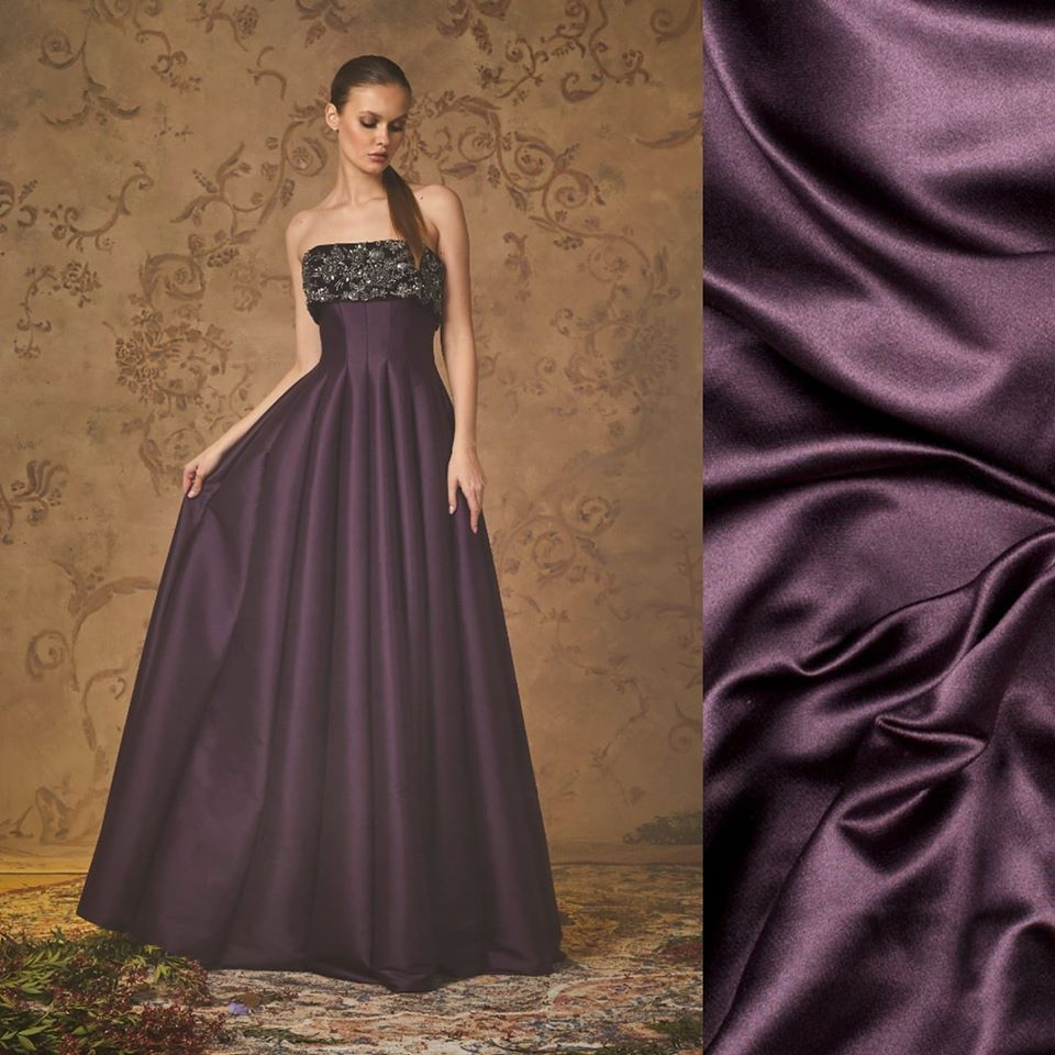 Solid Violet Prue Silk Satin Charmeuse Fabric By The Yard or Metre Width 44 inch 30 Momme