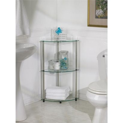 3 Tier Glass Corner Shelf - Convenience Concepts Glass corner
