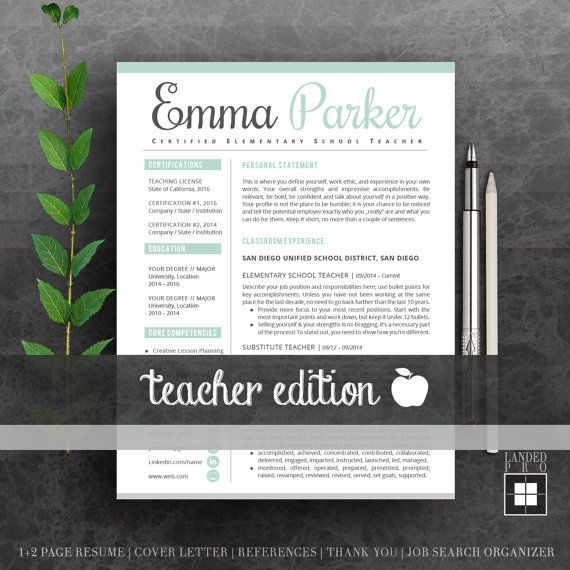 Teacher resume template cover letter professional modern teacher resume template cover letter professional modern creative resume template ms word for yelopaper Choice Image
