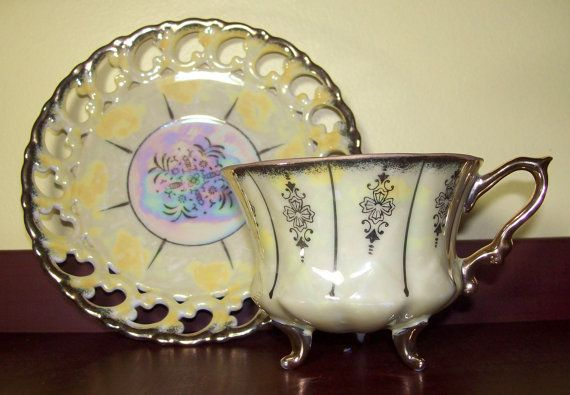Vintage Royal Sealy Footed Tea Cup & Reticulated by AtticExplorers