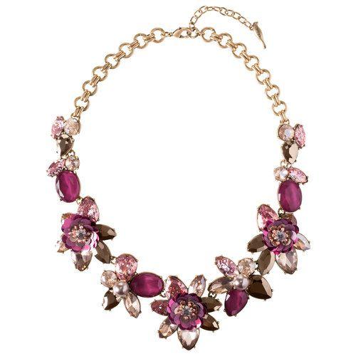 Sequin Pink Floral Statement Necklace bl2jDe2O