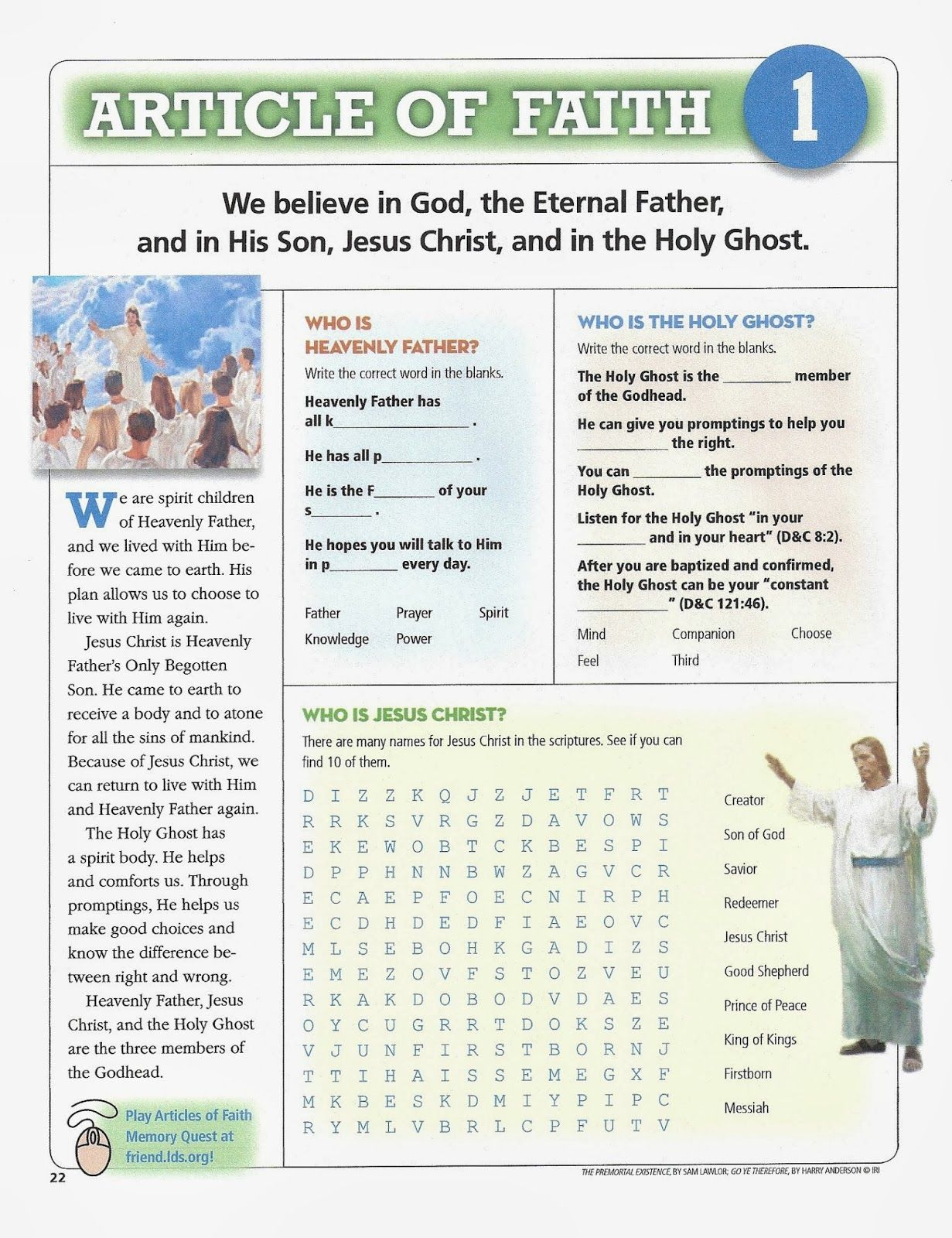 Happy Clean Living Article Of Faith Activities