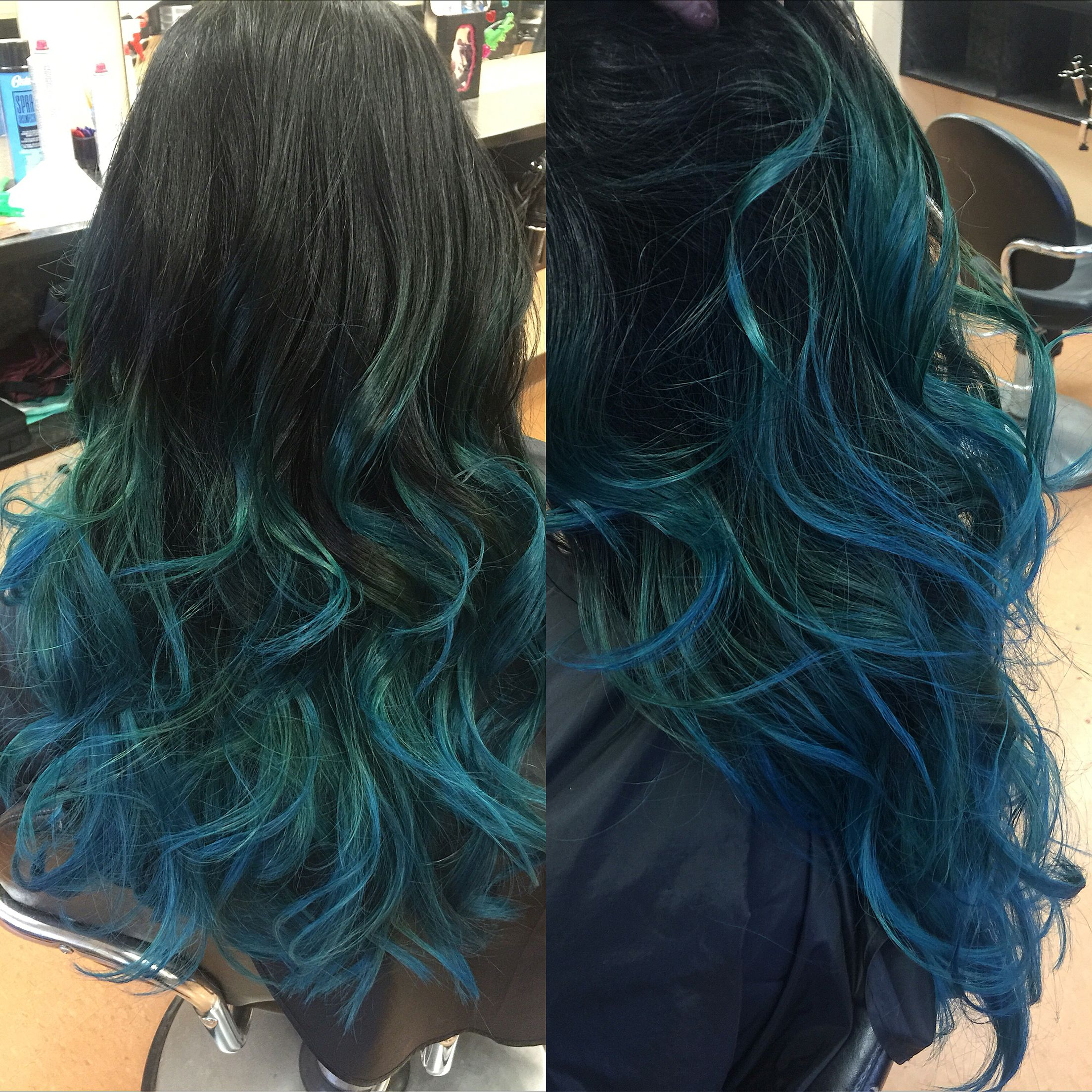 Gorgeous Peacock Green And Blue Color Matrix 1n And 2n Half And Half For Staggered New Growth Matrix Light Maste Hair Color Formulas Blue Hair Peacock Green