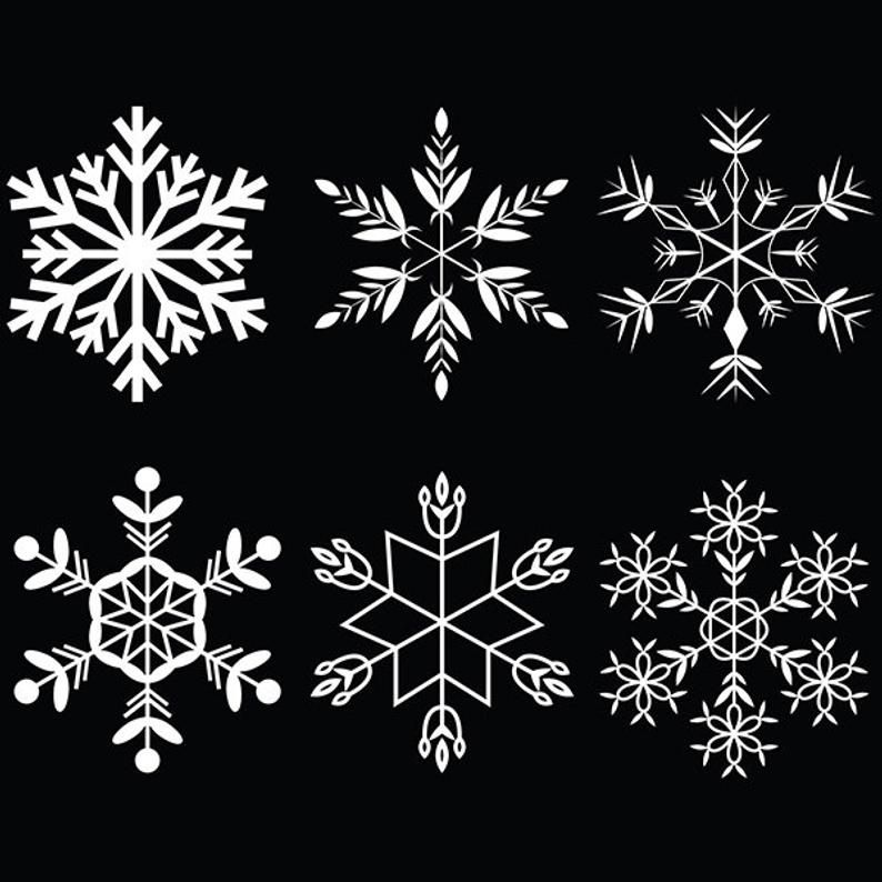 Snowflake Clip Art Christmas Winter Graphics Instant Download Etsy Snowflakes Drawing Clip Art Snowflakes Art