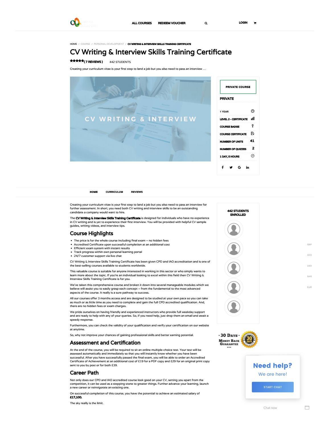 CV Writing & Interview Skills Training Certificate Alpha
