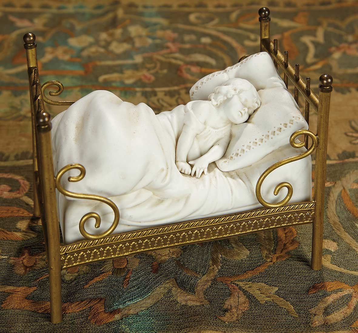 """""""For the Love of the Ladies"""" - October 1-2, 2016 in Phoenix, AZ: 235 German Bisque Figure of Sleeping Child with Unusual Brass Bed Form"""