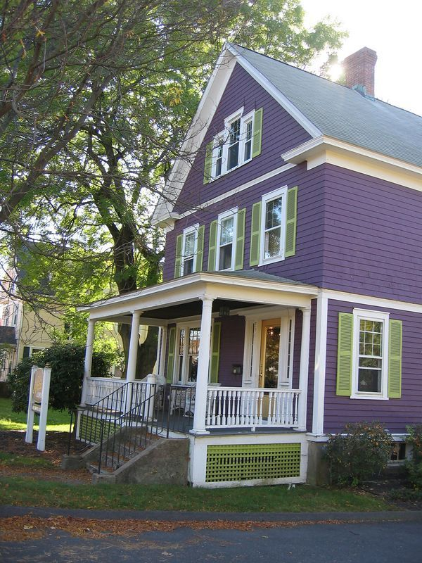 Purple And Lime Green House Exterior House Paint Color