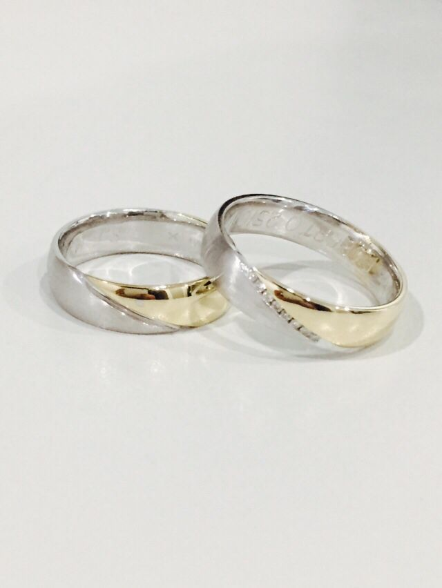 b7682f62ab35 Argollas de matrimonio personalizadas! Modelo Suiza en oro blanco y  amarillo con diamantes! desde  11
