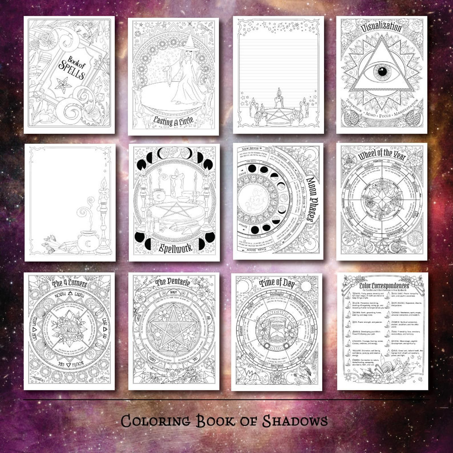 Coloring Book Of Shadows Book Of Spells Pdf Etsy Book Of Shadows Coloring Books Wiccan Spell Book
