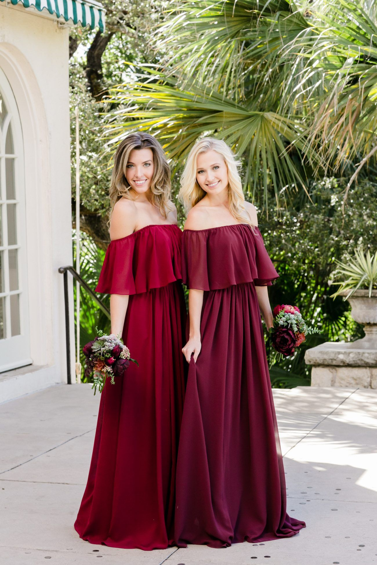 e1dcac9045 Stunning off-the-shoulder bridesmaid dresses in gorgeous berry colors from @ Revelry! #revelry #bridesmaid #bridesmaiddresses